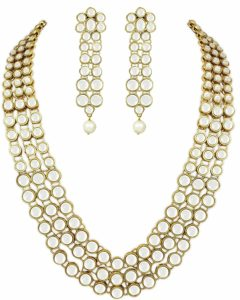 Kundan Pearl Necklace Set with Earrings for Women (White)